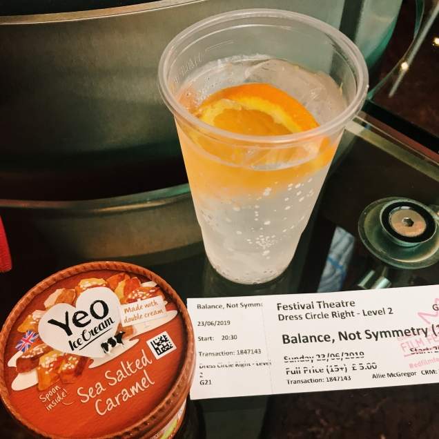 image of movie ticket gin and tonic and salted caramel ice cream