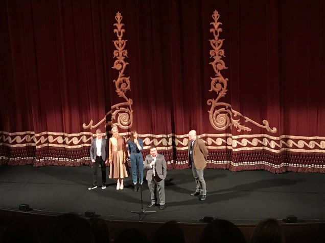 Image of Jamie Adams and some cast introducing the film at the Festival theatre